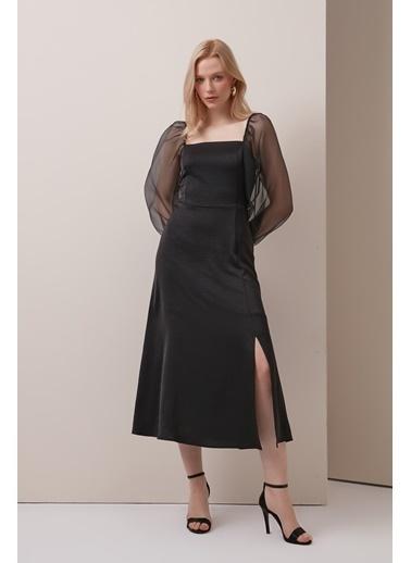 Gusto Kare Yaka Kolları Şifon Uzun Elbise - Siyah Kare Yaka Kolları Şifon Uzun Elbise - Siyah Siyah